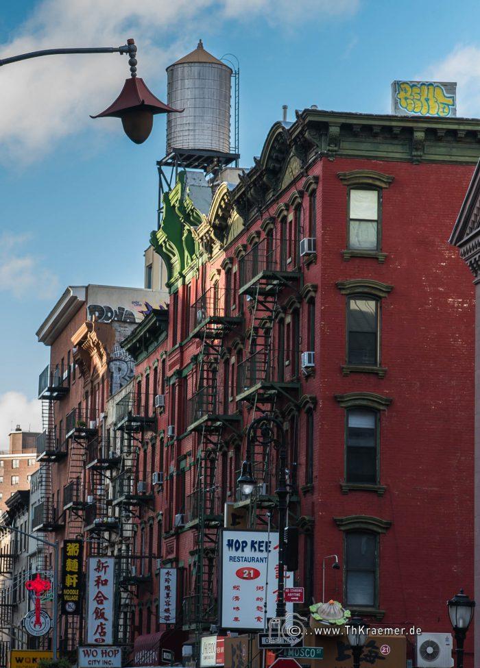 Chinatown, Fassaden, Feuertreppen, Feuerleiter, New York, Wassersilo